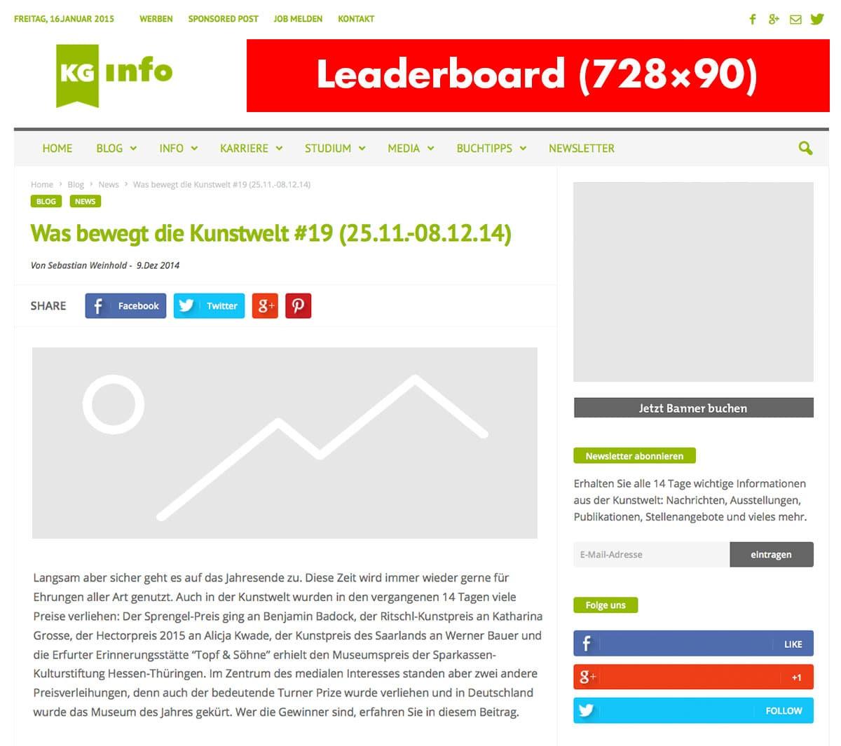 Werbung auf kunstgeschichte.info - Leaderboard (728x90)