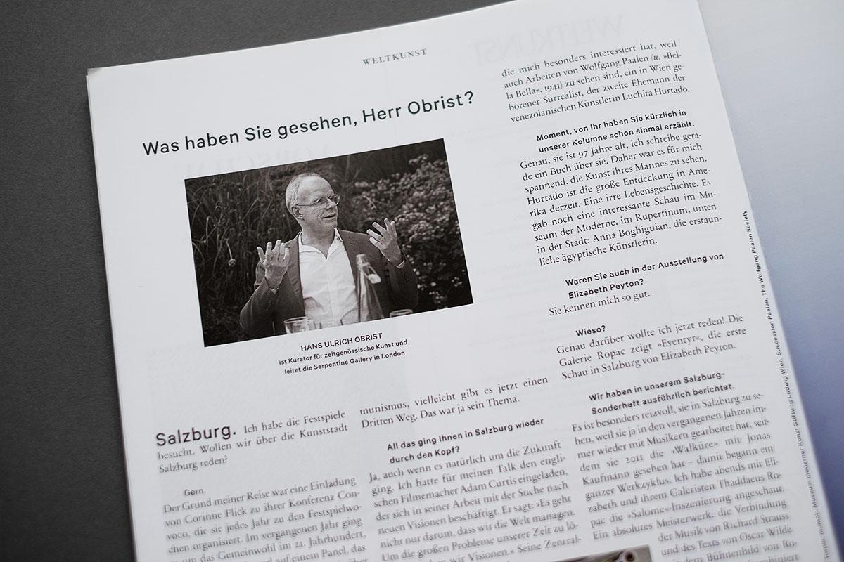 Weltkunst Magazin - Hans-Ulrich Obrist